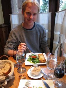 Michael with Appetizer at Le Marsangy