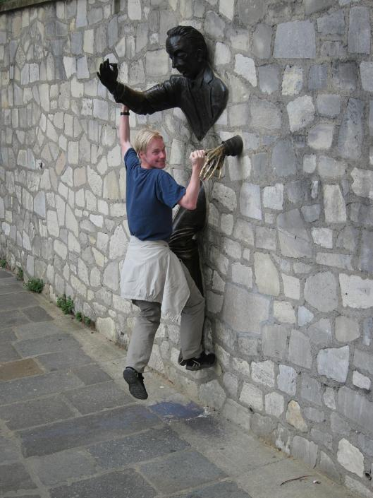 Michael with Statue of Marcel Aymé