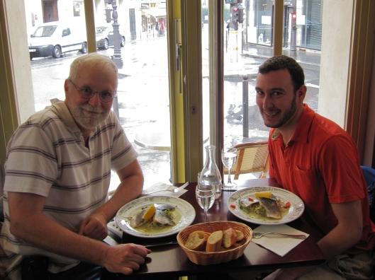 Bob et Jared avec filets dorade a la fondue de poireaux