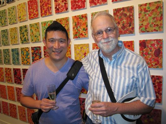 Gerry and Bob with works by Caroline Coppey at Galerie Alexandre Cadain