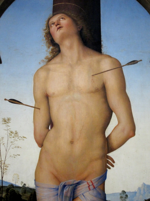 Saint Sebastian by Pérugin (detail).  Around 1490-1500.