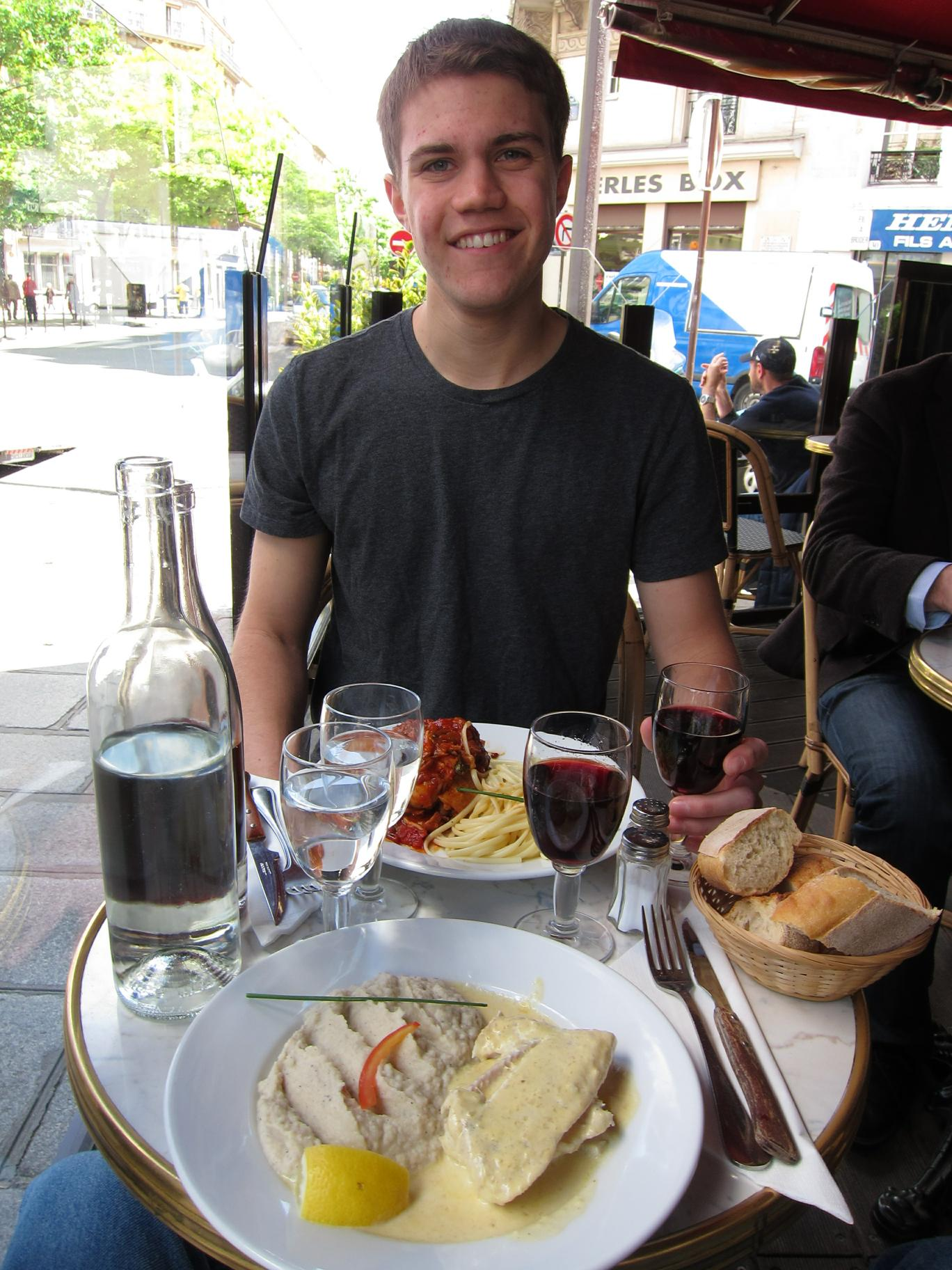 Alex with our lunch at L'Absinthe Café