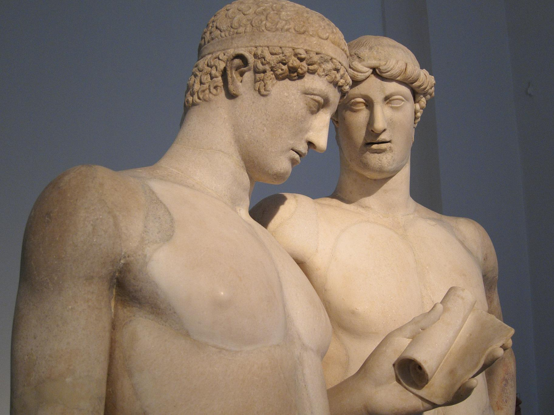 Orestes and Pylade. Looks to me like the guy on the left is checking his 1st Century mobile.