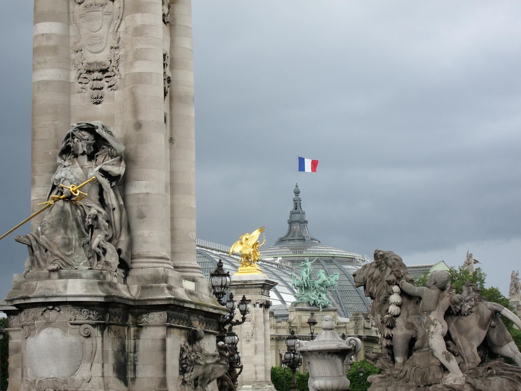View of the Grand Palais from across the Pont Alexandre III.