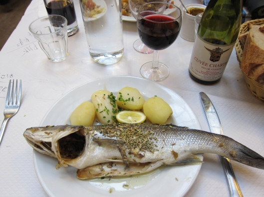 Whole sea bass (bar entier) at Bouillon Chartier.