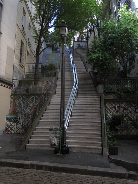 Stairway on the north side of la Butte Montmartre.