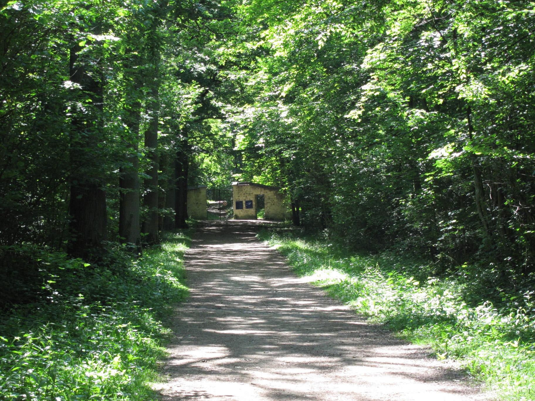 The Route du Pré Cure, leading to the gate of the domain of the Château d'Ecouen.