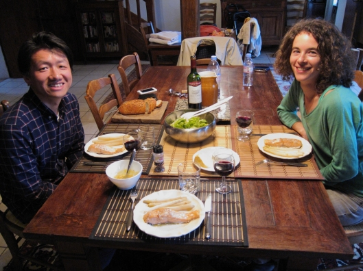 Zhizhong and LIsa on our first night at L'Ejumeau, 2014.