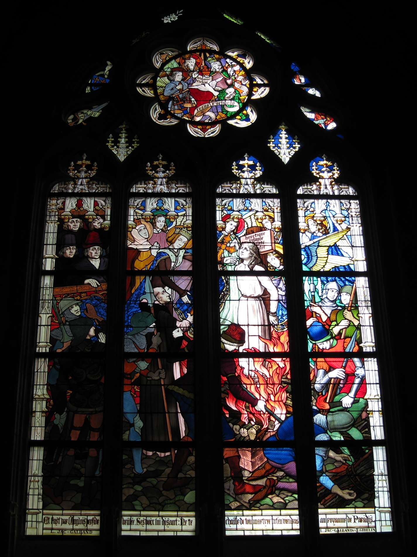 Joan of Arc getting rather dramatically burned at the stake in a late-19th century stained glass window of La cathédrale Sainte-Croix in (Old) Orléans.