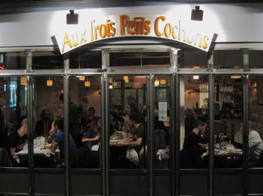 Aux Trois Petits Cochons (of the Three Little Pigs), in its new location near métro Abbesses in Montmartre.