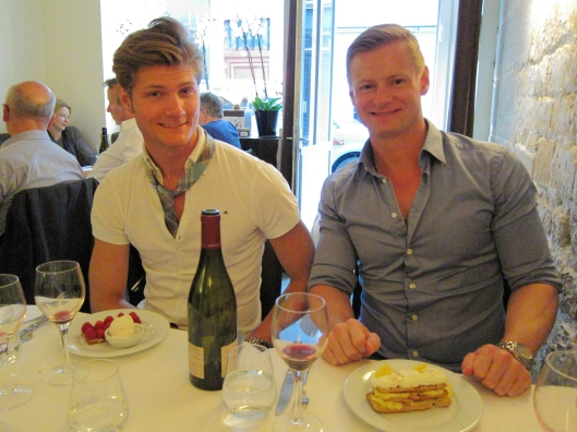 Chris and Marcus with desserts at Pramil, in the Haut Marais.