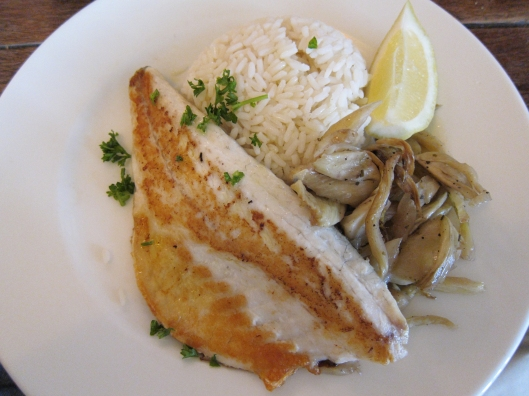 Sea bass with rice and fennel at Café de l'Industrie, Bastille.