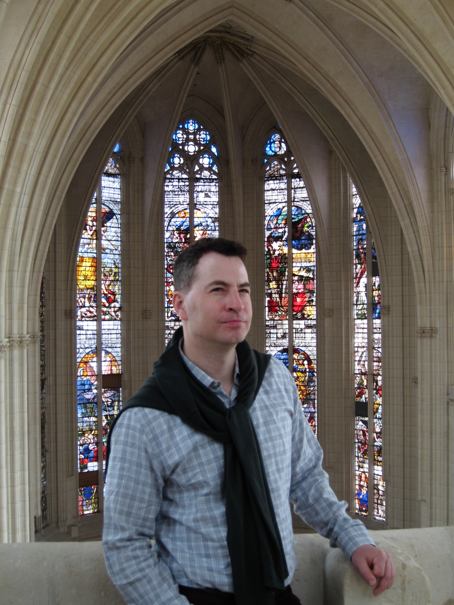 Jason in the chapel of the Château de Vincennes, considering whether to convert to Catholicism. (He decided not to.)