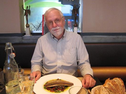 Bob's sea bass dinner at Le Petit Niçois, in the 7e.