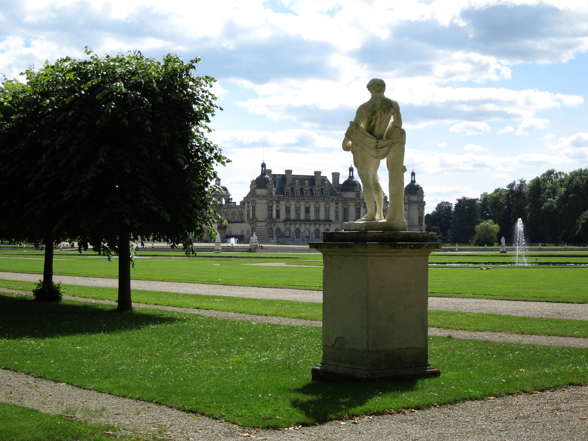 View of the Château de Chantilly from the French garden.