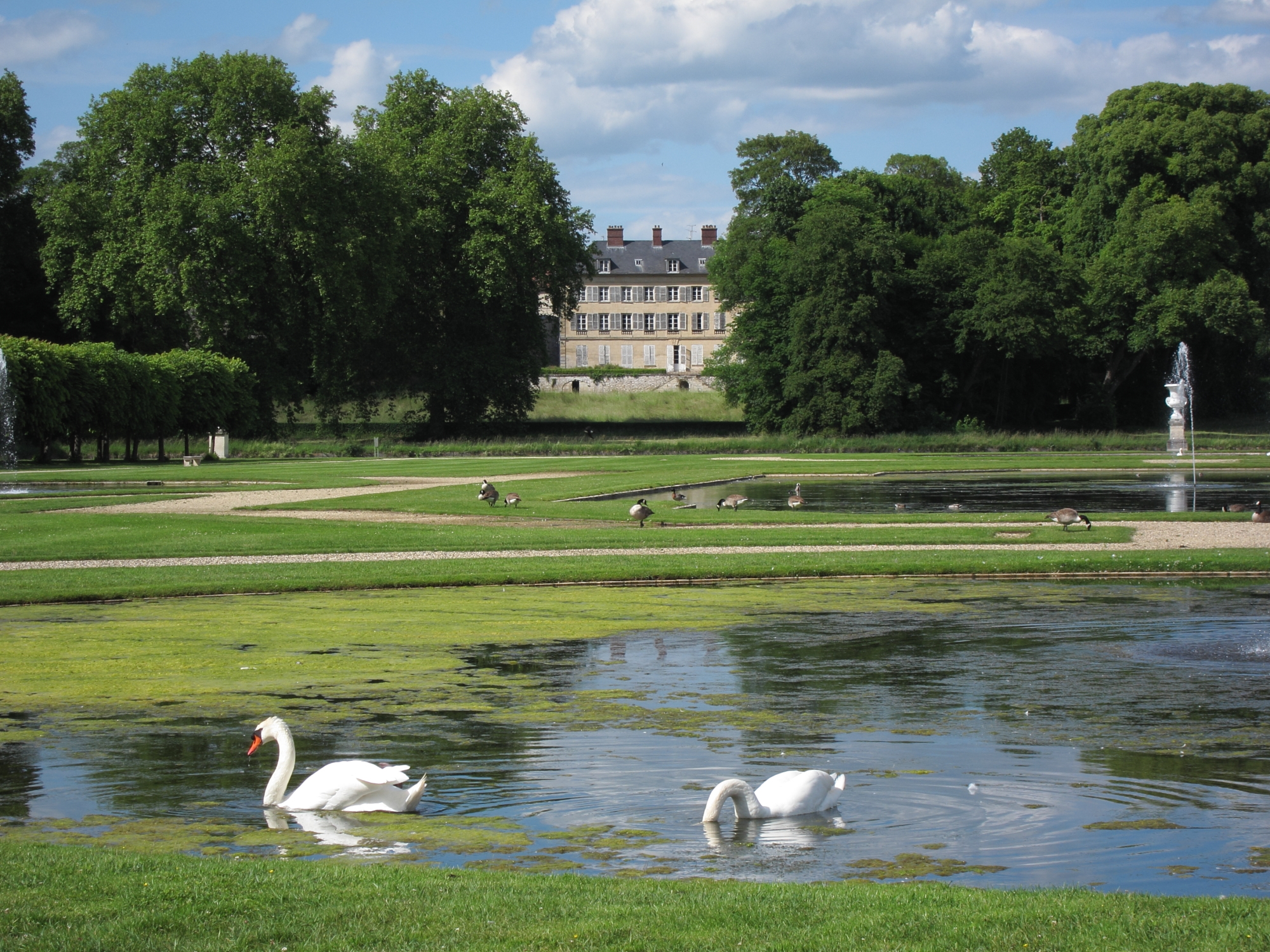 The French garden designed by Le Nôtre at the Château de Chantilly.