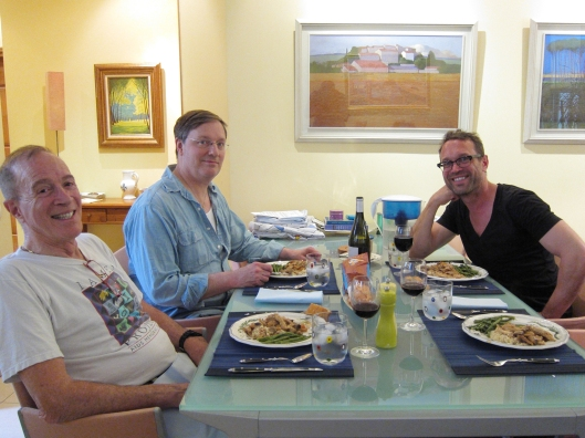 Dinner hosted by Bob Seeman and his friend Dennis, with Bob Tobin.