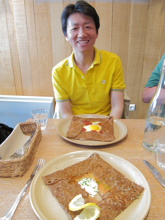 Zhizhong with our galettes at Breizh Café in the 3e.