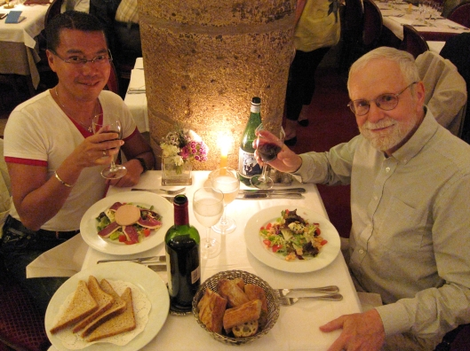 Jacques and Bob at dinner at La Table des Gourmets in the Marais.