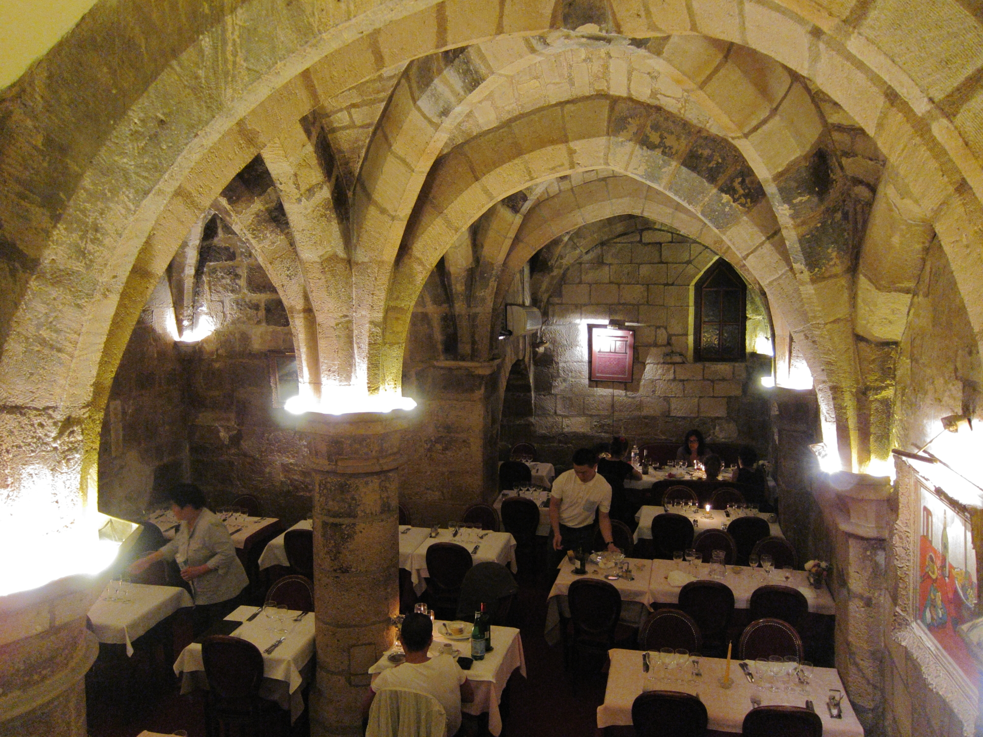 The astonishing dining room of La Table des Gourmets in the Marais was a 12th century chapel.