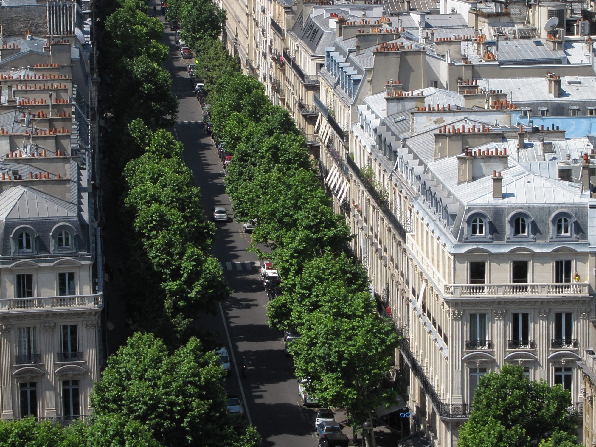 Many flues on Haussman building rooftops.