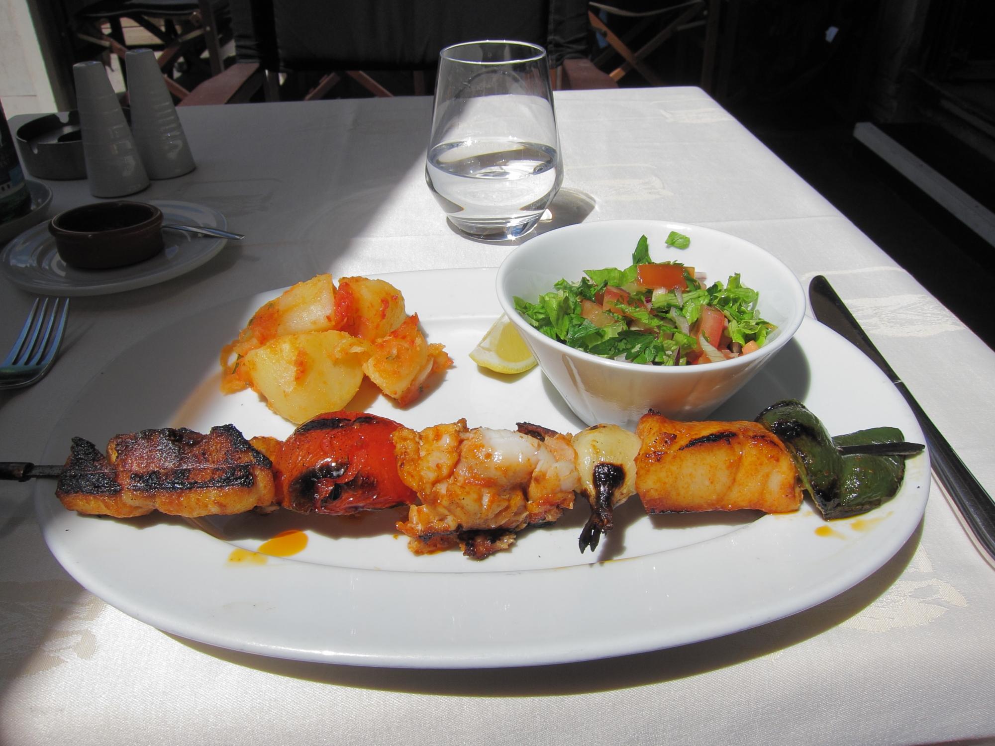 Delicious fish brochette platter at Le Janissaire, near métro Daumesnil.