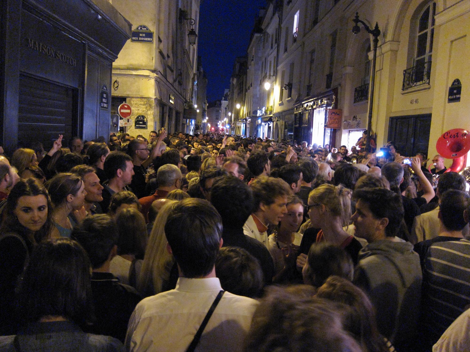 The happy throng on rue Veille du Temple for la Fete de la Musique, June 21, 2014.