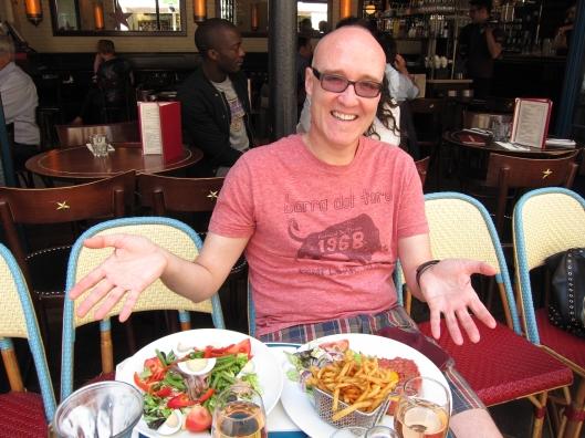 Jaime with our lunches at Café du Centre on rue Montorgueil.