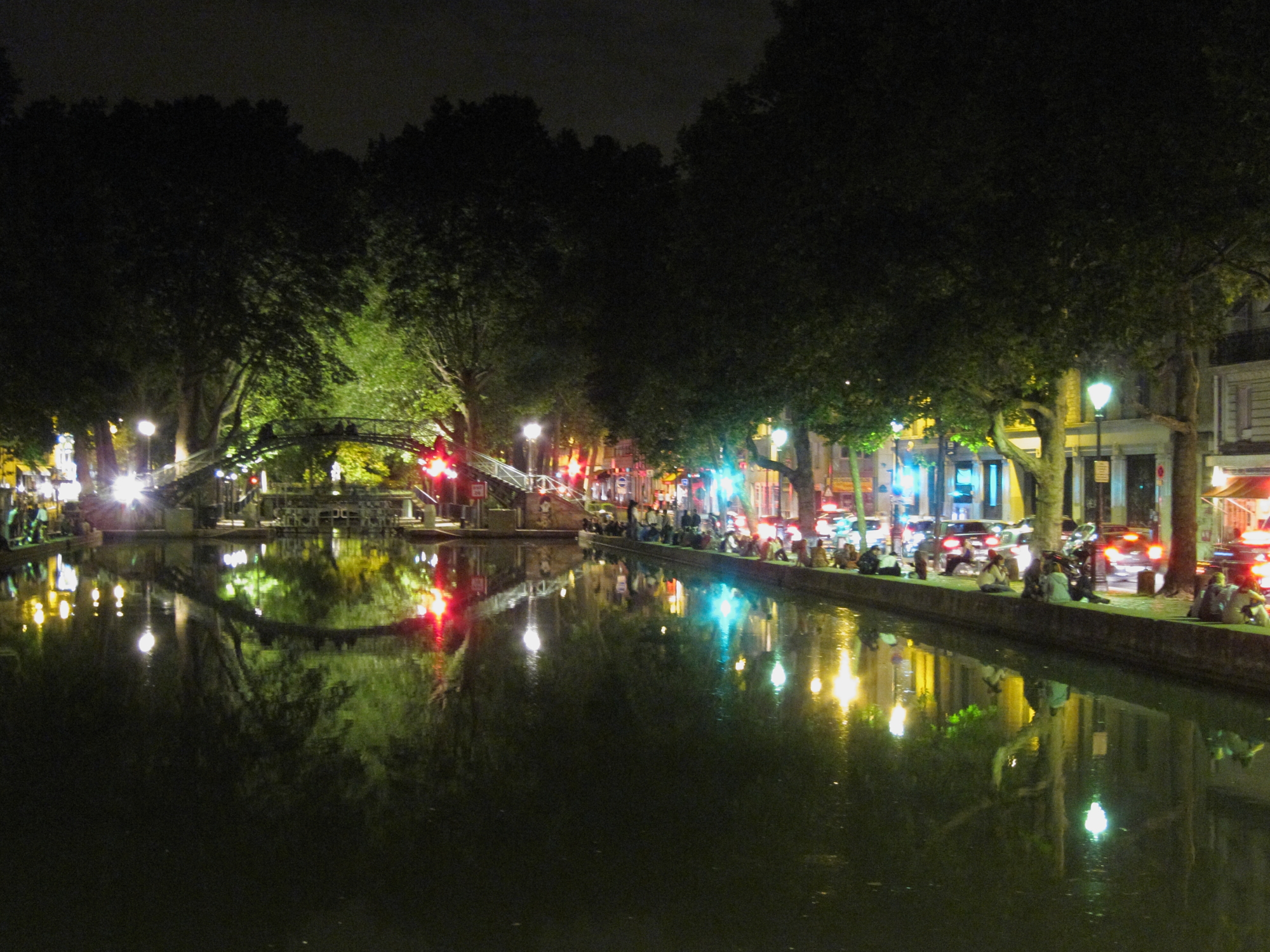 Canal Saint-Martin at midnight. Summer in Paris!