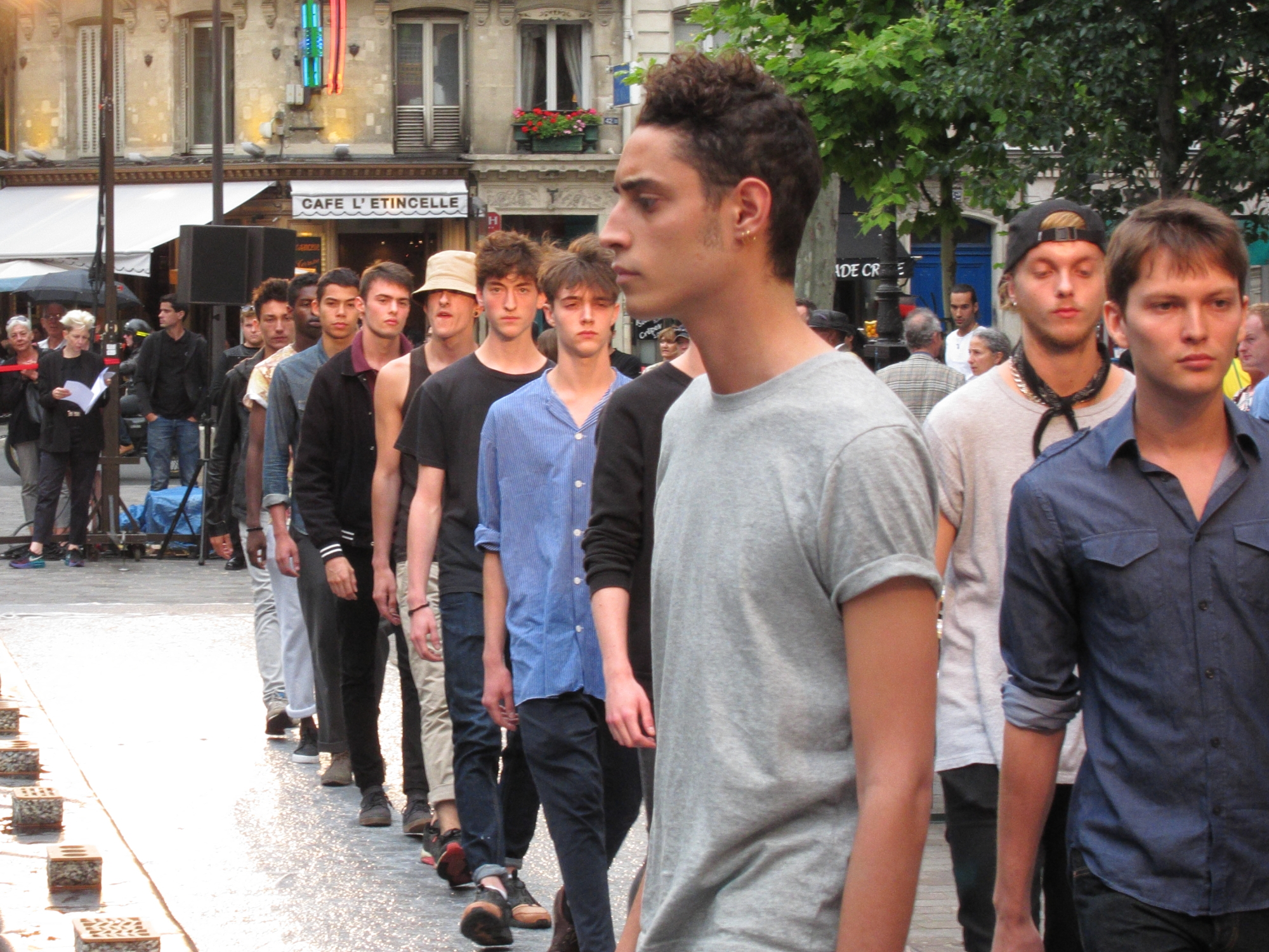 A parade of models just down the street from my apartment.