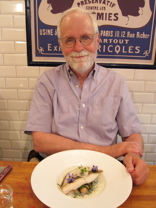 Bob blissfully contemplating his main course at Metropolitan.