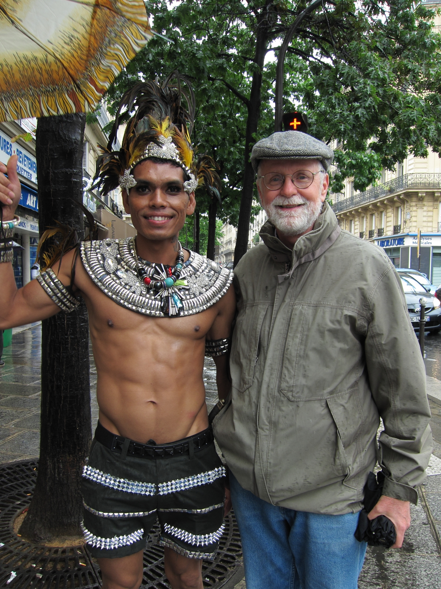 Bob with his new best friend at Paris Pride.