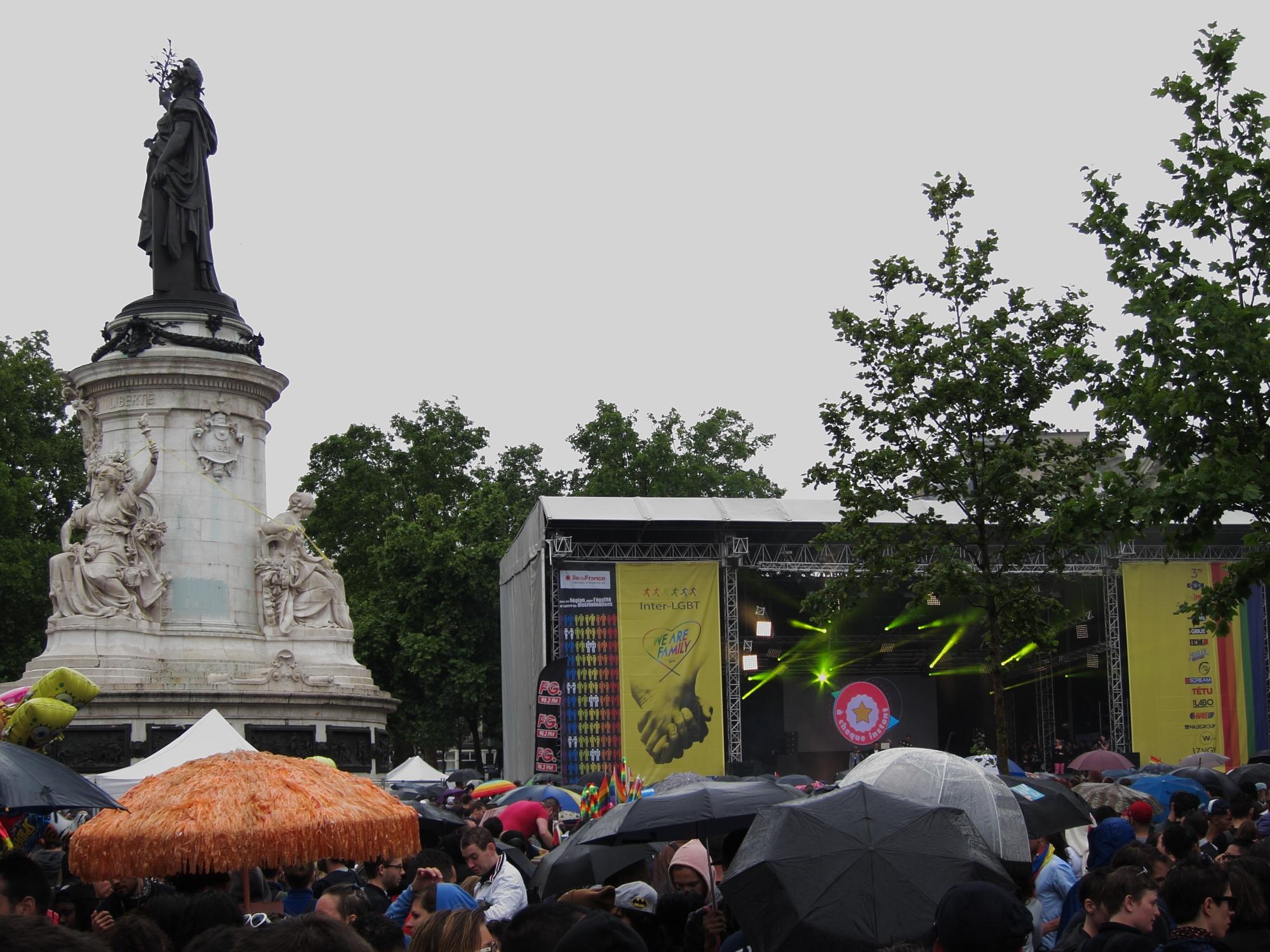 At the end of the 2014 Paris Pride Parade (Marche des Fiertés), at Place de la République.