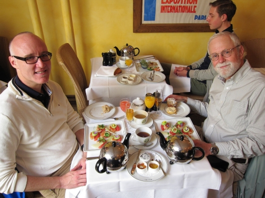 Bob and Jaime with brunch at Mariage Frères in the Marais.