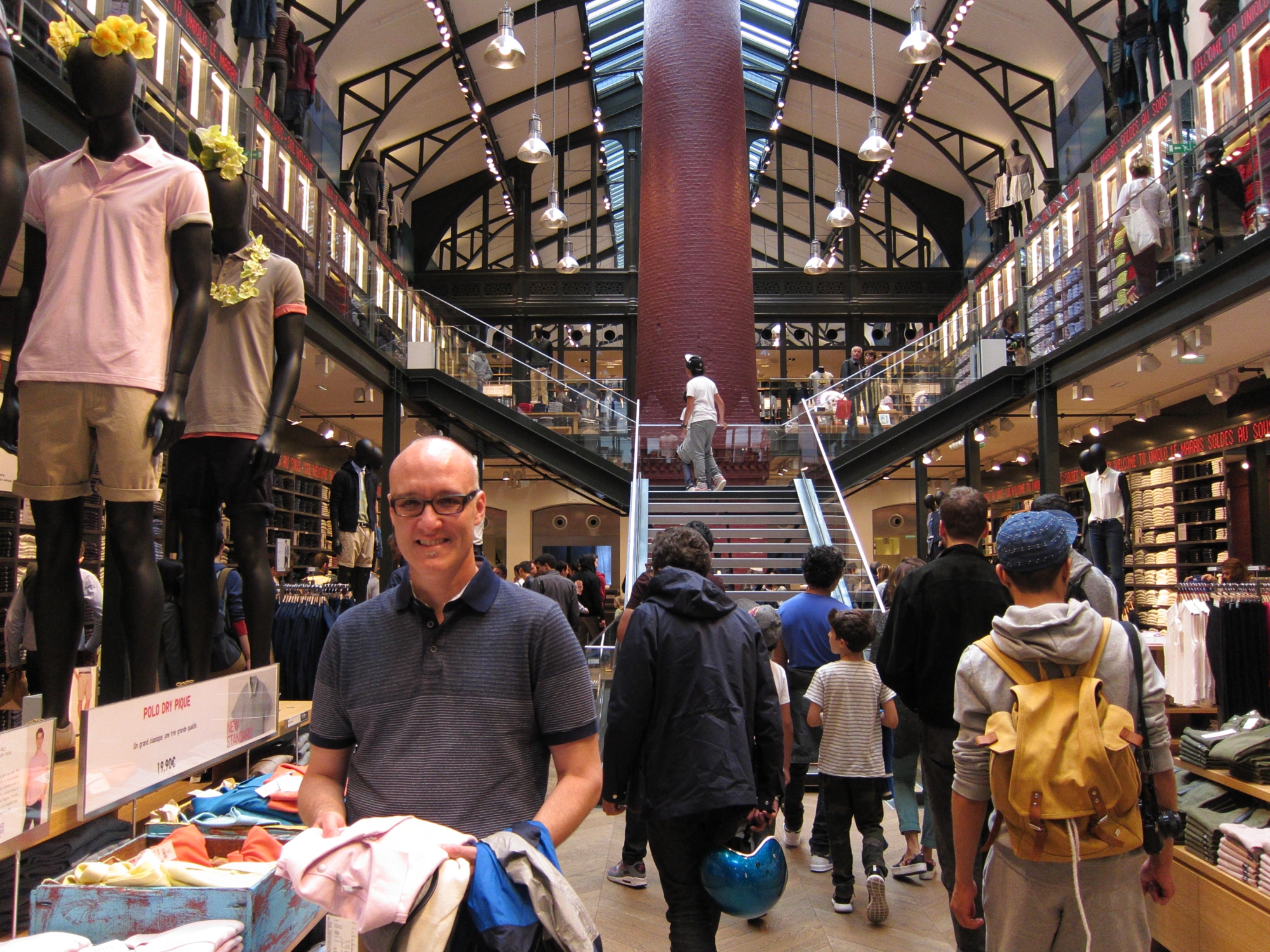 Jaime enjoying the new Uniqlo store in a former factory in the Marais.