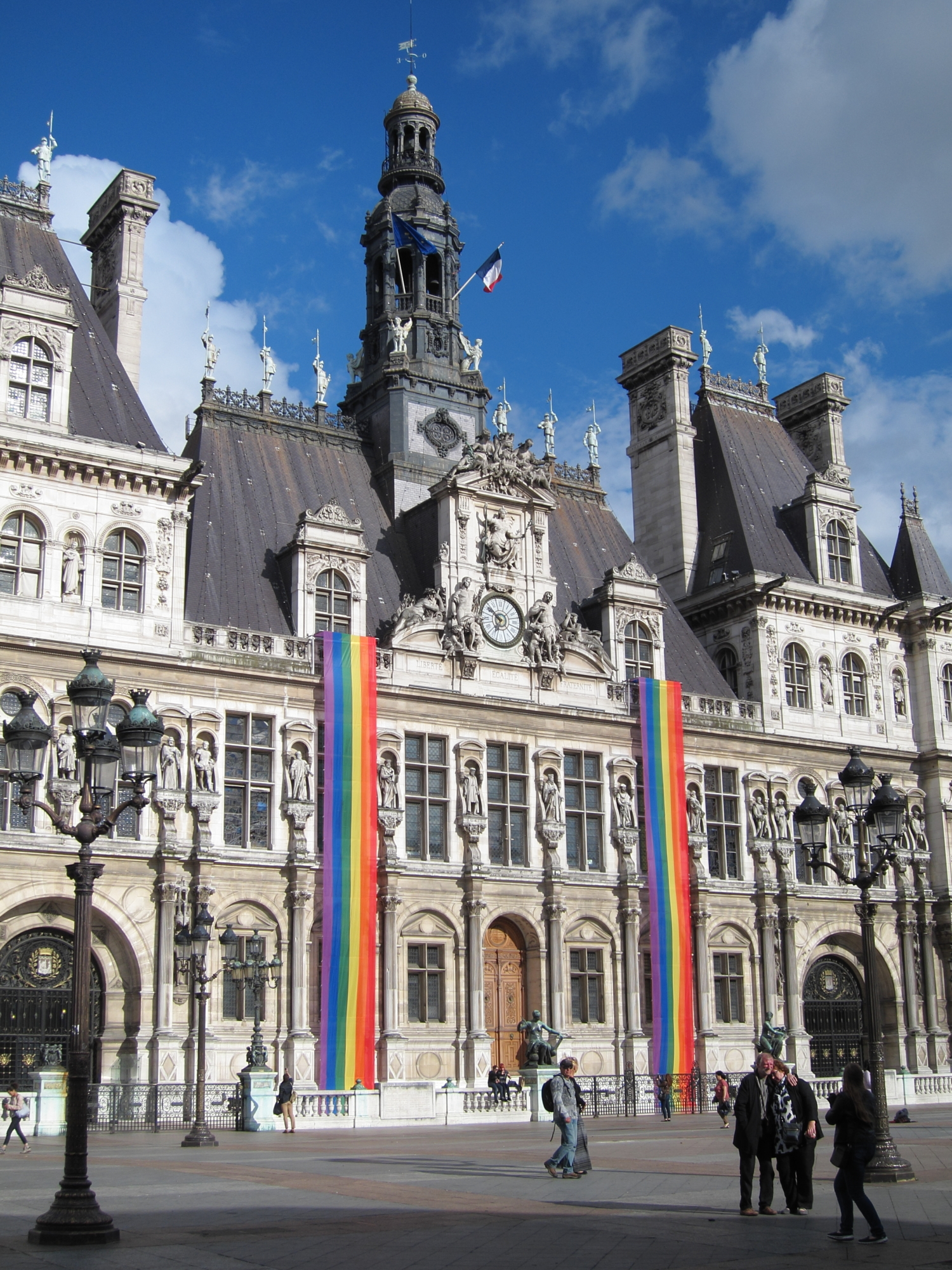 Rainbow banners on the Paris city hall (Hôtel de Ville) for 2014 Gay Pride.
