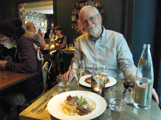 Bob with the main course at Pamela Popo.