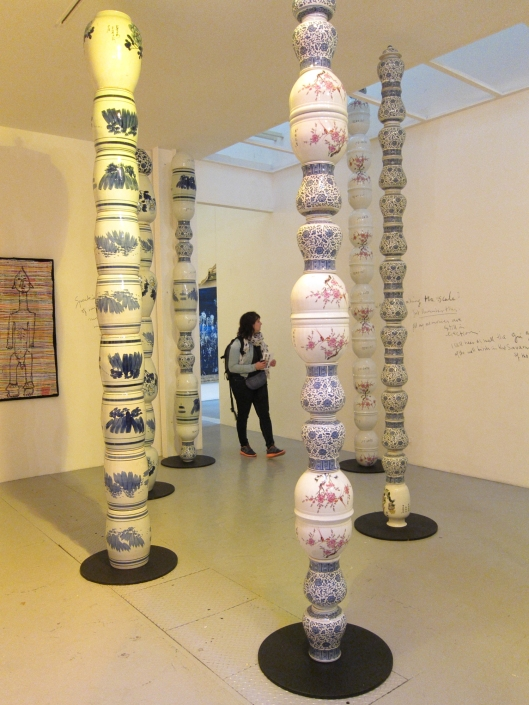 Installation by Pascale Marthine Tayou at the VnH Gallery, 108 rue Veille du Temple, until 20 June 2015.