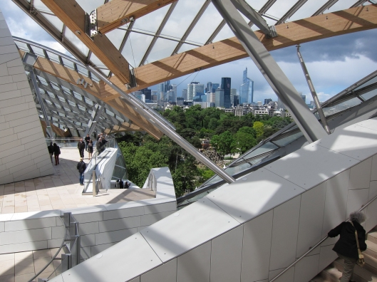 View of La Défense from Fondation Louis Vuitton.