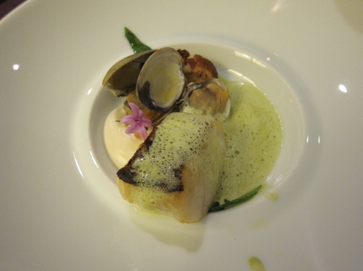 Fish course at Restaurant Hélène Darroze.