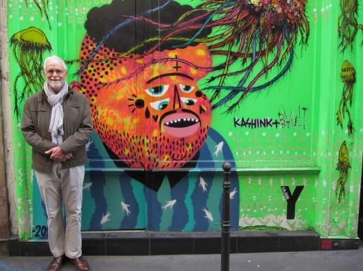 Contemporary street art next door to the oldest building in Paris.