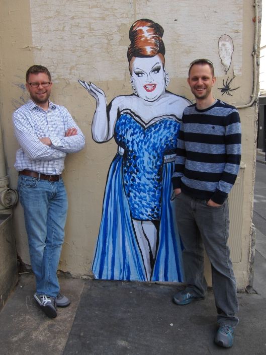 Chris and Matt getting a warm Parisian welcome! (Fabu street art just outside my front door.)