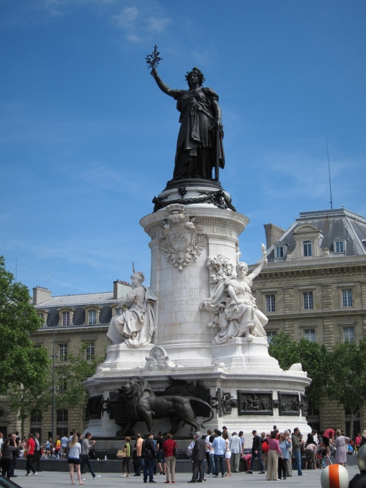 Statue of Marianne, symbol of France, in the Place de la Republique, after its renovation in 2013.