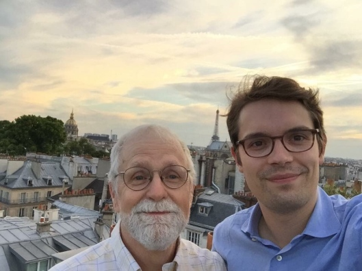Bob and Antoine on his fabulous roof deck in Saint-Germain-des-Prés.