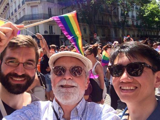 Guillaume, Bob and Zhizhong at Paris Pride.