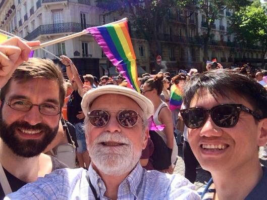 Guillaume, Bob and Zhizhong at Paris Pride.