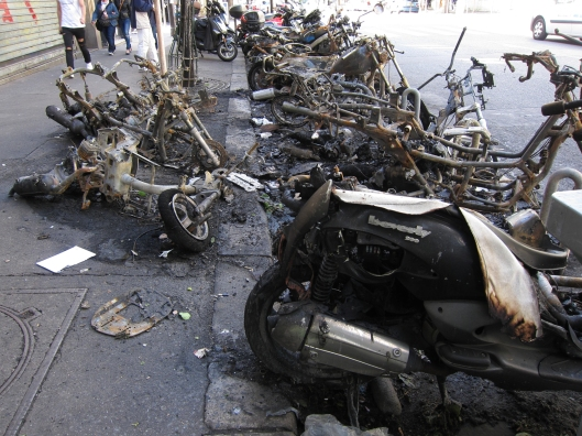A bunch of incinerated motor bikes. There were no police tapes or indeed any indication that anyone had noticed what must have been quite a conflagration.