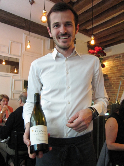 Another of our waiters at Frenchie with our second wine.