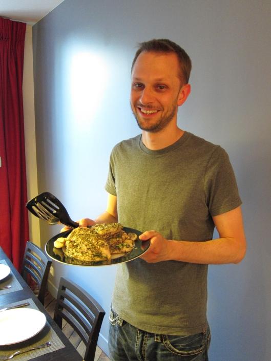 Matt with the delicious chicken main course.