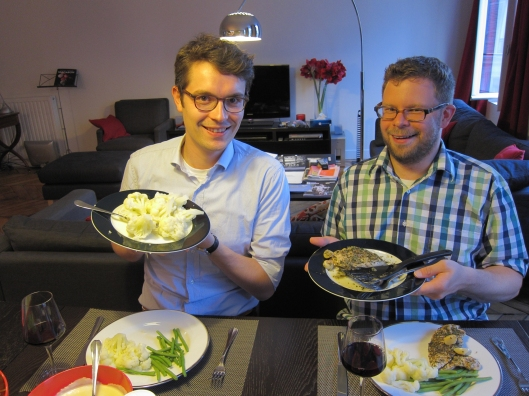 Antoine and Chris at our first home-cooked dinner.